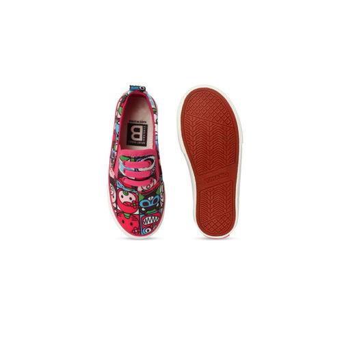 Walktrendy Kids Printed Pink Slip-On Sneakers