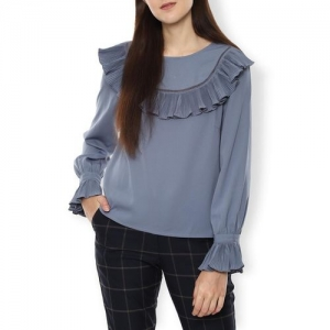 VAN HEUSEN Round-Neck Top with Overlay