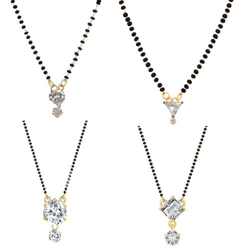 Wear The Shine Combo of 4 Solitaire Mangalsutra with Black Beaded Chain by GoldNera