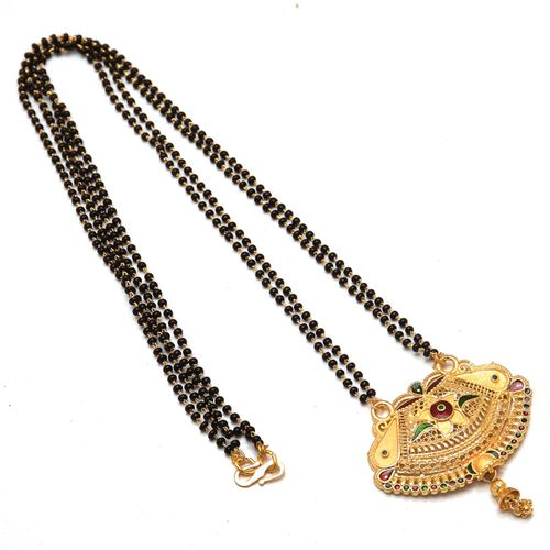 Jewar Mandi Mangalsutra One Gram Gold Plated Handmade Meena Work with Crystal Chain Jewelry for Women