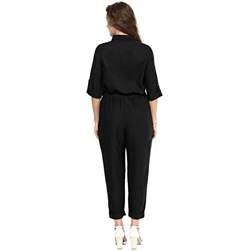 Uptownie Lite Black Poly Crepe Roll Up Jumpsuit