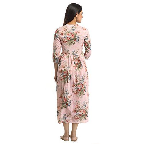 ANAYNA Women's Maternity Dress (Pastel Pink)