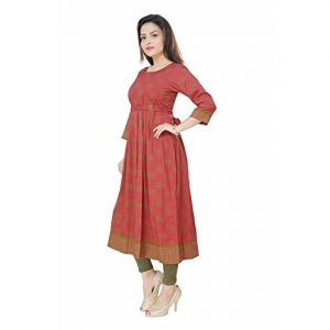Dummy Shape Women's Cotton Rayon Peach Maternity cum Feeding Long Kurti Dress for Casual