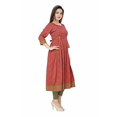 Dummy Shape Women's Cotton Rayon Peach Maternity cum Feeding Long Kurti Dress for Casual