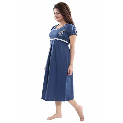Fabme Women's Hosiery, Nursing, Feeding, Maternity Knee Length Nighty - Zip Opening at Bust - Before and After Baby Multipurpose Nighty