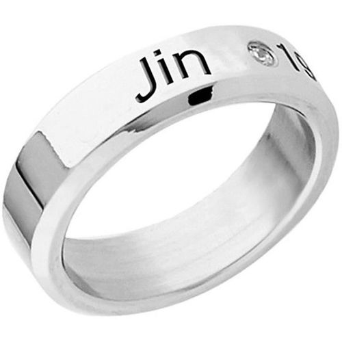 Divastri Kpop BTS Bangtan Boys Members Name and Date of Birth Mentioned Ring for Men and Boys (Jin) Copper Cubic Zirconia Silver Plated Ring