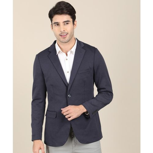 Indian Terrain Solid Single Breasted Casual Men Blazer(Blue)