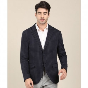 Indian Terrain Striped Single Breasted Casual Men Blazer(Blue)