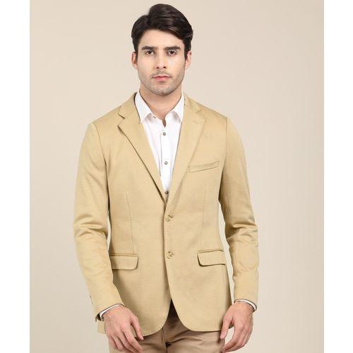 Indian Terrain Solid Single Breasted Casual Men Blazer(Beige)