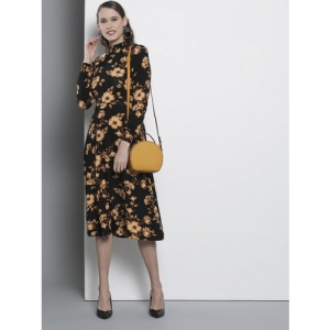 DOROTHY PERKINS Women Black & Mustard Yellow Printed Fit and Flare Dress