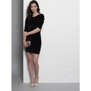 DOROTHY PERKINS Women Black Solid Velvet Bodycon Dress