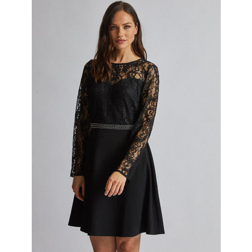 DOROTHY PERKINS Women Black Lace Detail Fit and Flare Dress