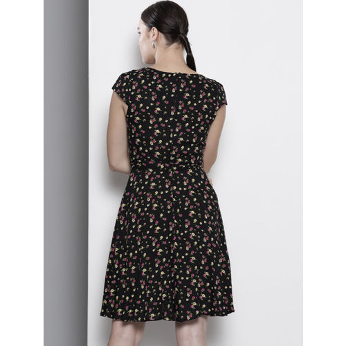 DOROTHY PERKINS Women Black & Pink Floral Print A-Line Dress