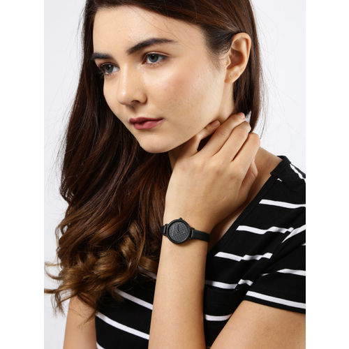 French Connection Women Black Genuine Leather Analogue Watch FC1319B