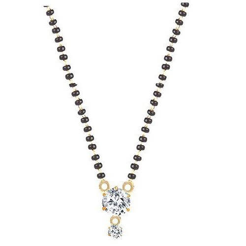 Sukkhi Sparkling Gold Plated Cz Solitaire Mangalsutra Combo For Women