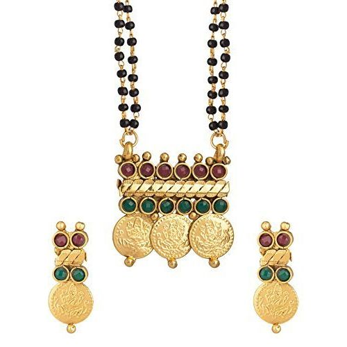 YouBella Traditional Temple Coin Mangalsutra Pendant with Earrings for Women-YBMS10087