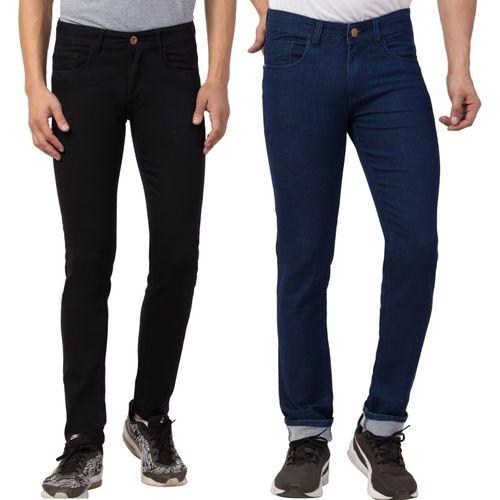 WHATON Slim Men Black, Dark Blue Jeans(Pack of 2)