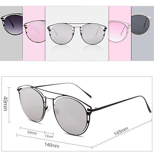 SOJOS Sunglasses for Women Mirrored Flat Lenses Street Fashion Metal Frame SJ1097