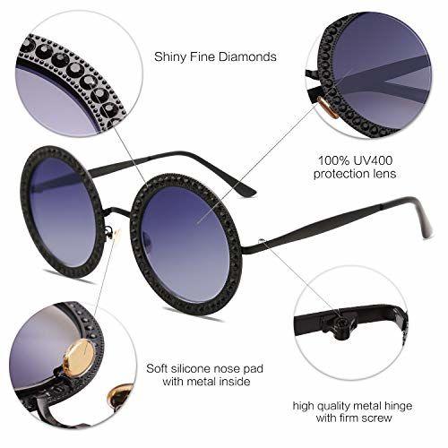 SOJOS Round Rhinestone Sunglasses for Women Metal Frame Diamond Shades SJ1095