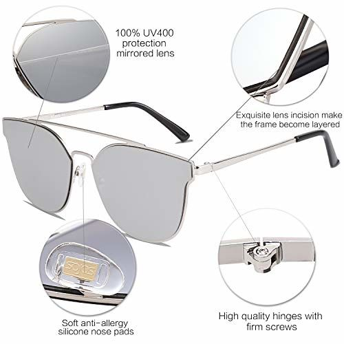 SOJOS Fashion Mirrored Double Bridge Sunglasses Flat UV Protection Lens SO SHINE
