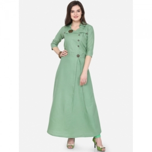 Florence Green Cotton Solid A-Line Kurta