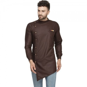 BENSTOKE Men's Solid Asymmetric Kurta(Brown)