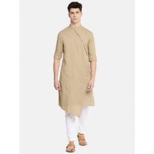 The Indian Garage Co Men Solid Trail Cut Kurta(Brown)