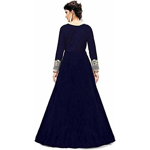 Smily Creation Women's Taffeta Silk Embroidered Long Anarkali Gown for Women
