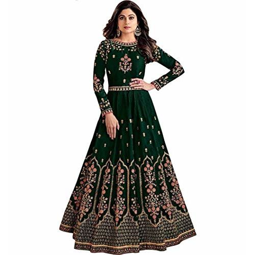 Nir Fashion Women's Embroidered Taffeta Silk Semi Stitched Anarkali Gown (Free Size) (Green)