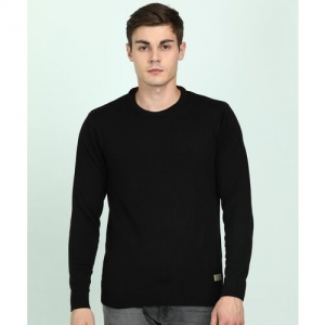 Peter England University Solid Round Neck Casual Men Black Sweater