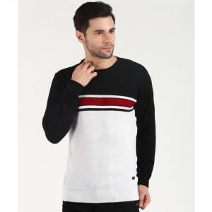 Duke Striped Round Neck Casual Men Black, White Sweater