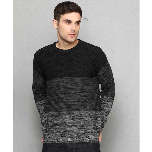 Metronaut Self Design Round Neck Casual Men Black, Grey Sweater