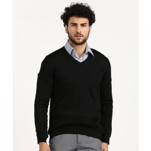 United Colors of Benetton Solid V Neck Formal Men Black Sweater