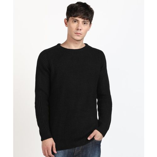 Flying Machine Woven Crew Neck Casual Men Black Sweater