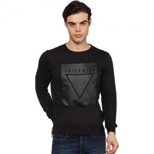 Blackberrys Printed Round Neck Casual Men Black Sweater