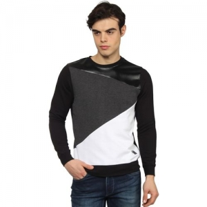 Blackberrys Solid Round Neck Casual Men Black, White Sweater