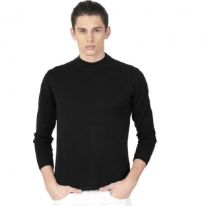ether Solid Round Neck Casual Men Black Sweater
