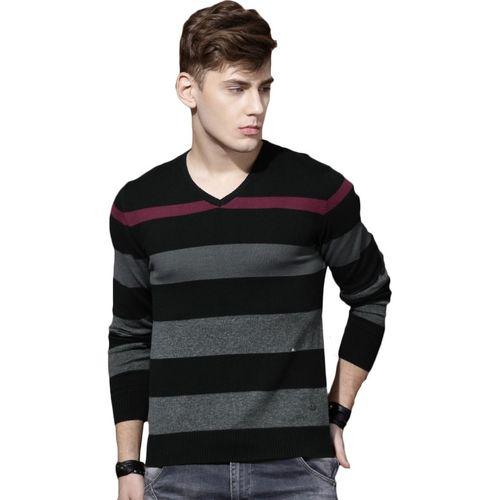 Roadster Striped V-neck Casual Men Black Sweater