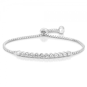 Peora Sterling Silver White Gold Rhodium Finish Adjustable Cord Eternity Crystal Bracelet