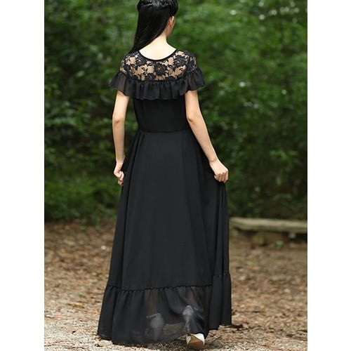 Raabta Fashion Black Long Dress With Neat Yoge