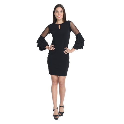 BuyNewTrend Black Cotton Blend Frill Bodycon Dress For Women