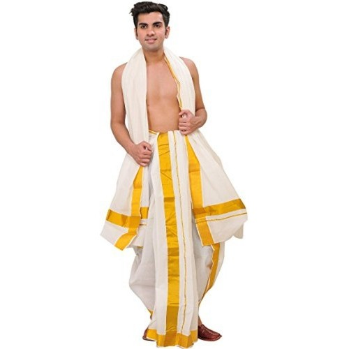 Exotic India Snow-White Dhoti and Veshti Set