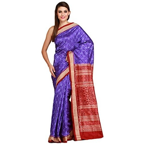 Exotic India Blue and Maroon Sambhalpuri Handloom Saree from Orissa