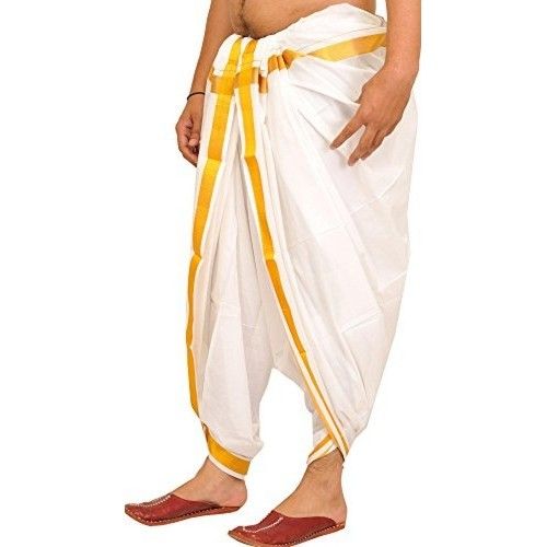 Exotic India Bright-White Dhoti from Kerala