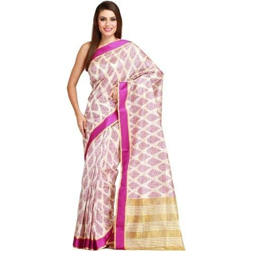 Exotic India Cream and Pink Saree from Bengal