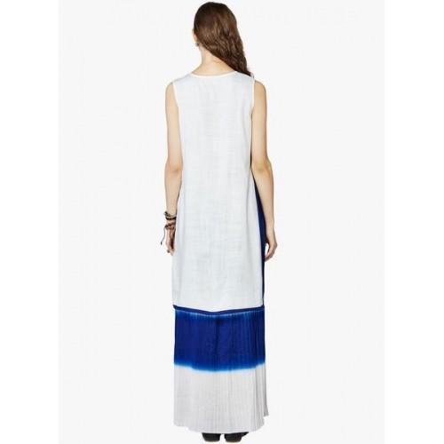 Global Desi Off White Embroidered Kurta