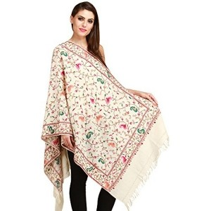 Exotic India Beige Ivory Ari Stole with Embroidered