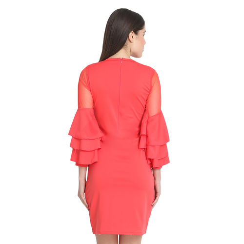 BuyNewTrend Gajri Cotton Blend Frill Bodycon Dress For Women