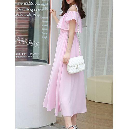 ANB-032 Westchic Pink Cold Shoulder Long Dress