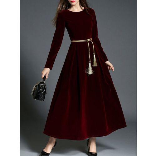 RIMSHAWEAR Rimsha Wear Women's Wear Maroon Long Velvet Dress